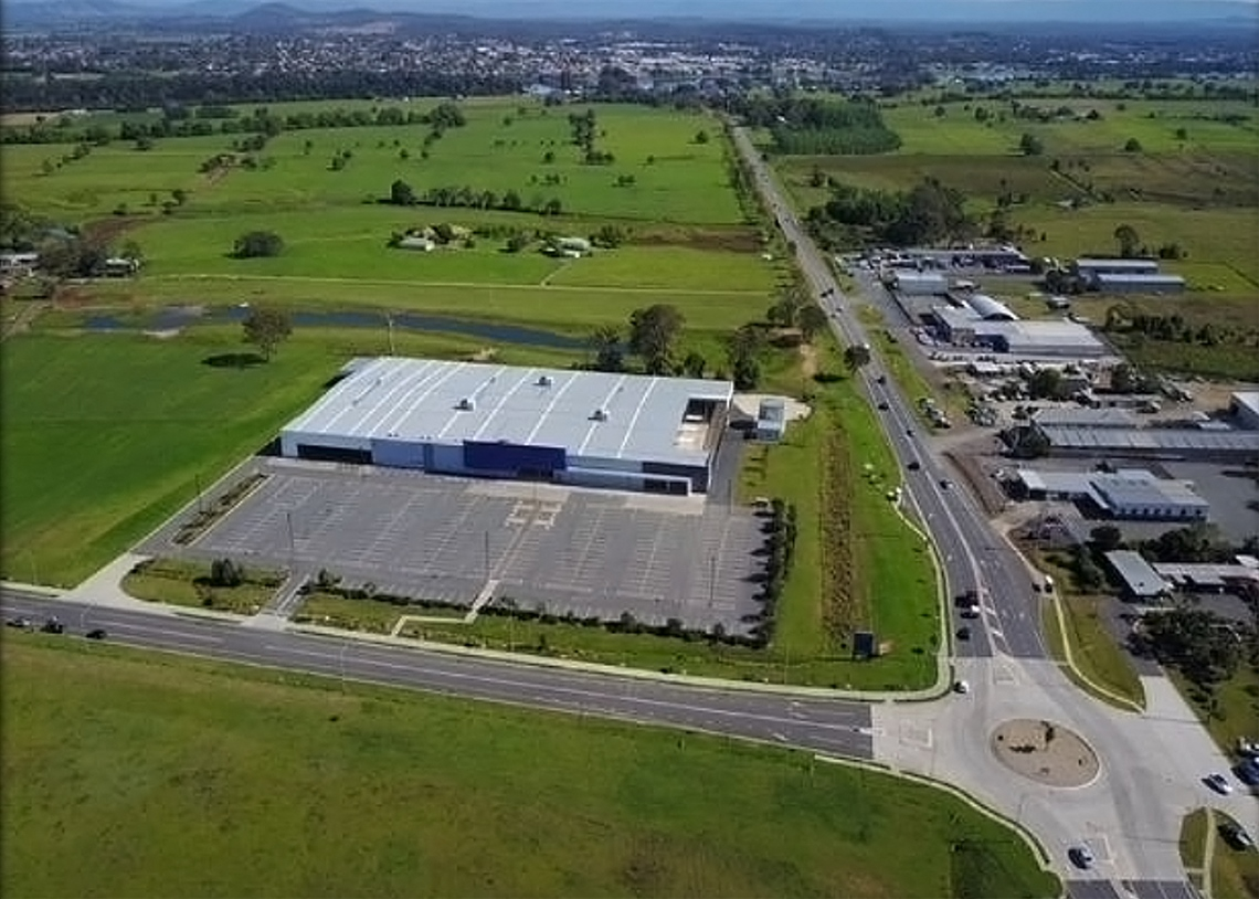 Former Masters building in Taree aerial view