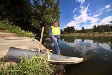 Manning Water Coordinator, Geoff Kerr at the intake from the Manning River.jpg